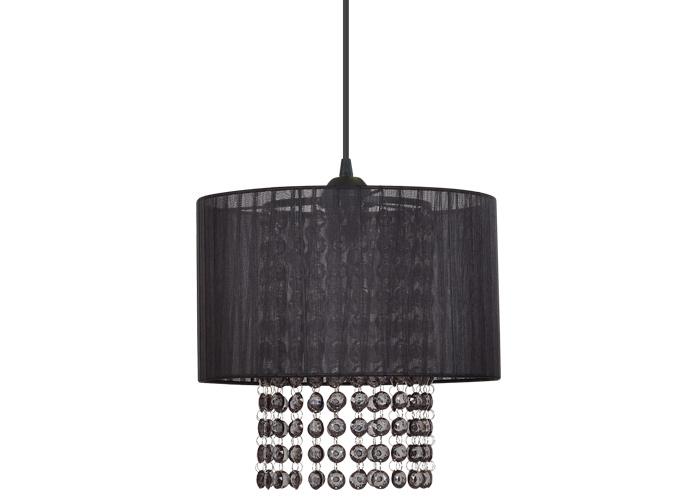 Lampa z materiałowym abażurem i kryształkami