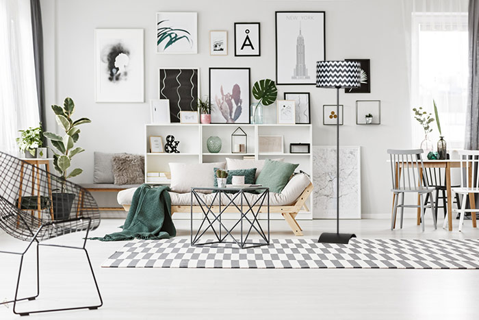Dekoracje nowoczesna mieszkanie lampa stojąca