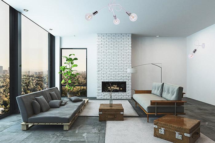 Nowoczesne oświetlenie lampa sufitowa Edison z trzema źródłami światła w minimalistycznym salonie w szarych kolorach