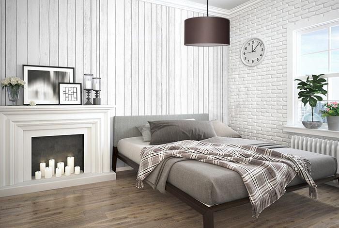 Lampa z abażurem materiałowym brązowym w sypialni