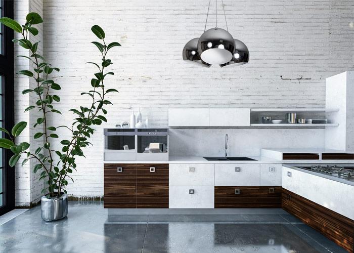 Lampa chrom w kuchni w stylu loft