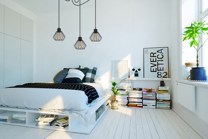 Lampa wisząca pająk metal w sypialni
