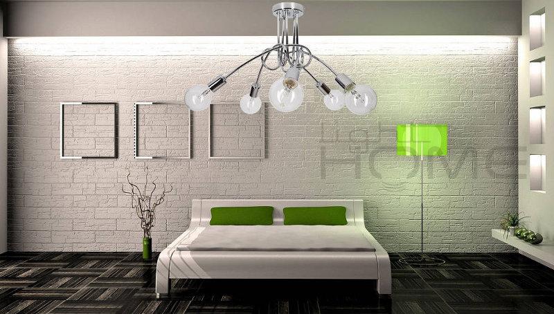 Lampa edison chrom w sypialni