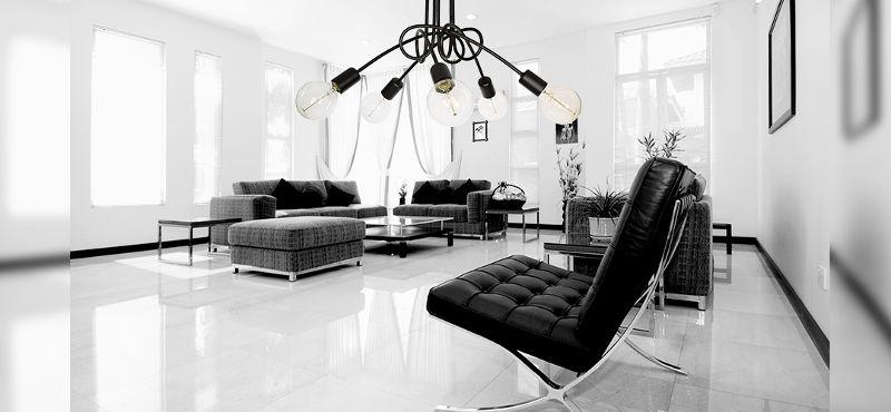 Wystrój salonu lampa edison loft