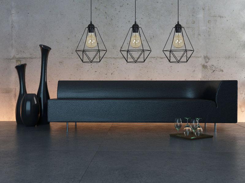 Salon z lampą 3-płomienną loft
