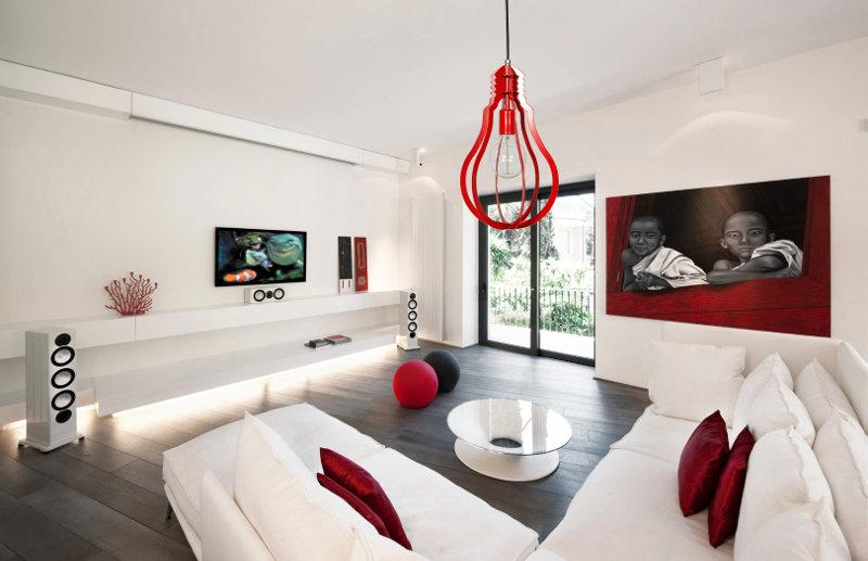 Salon loft z czerwonymi akcentami