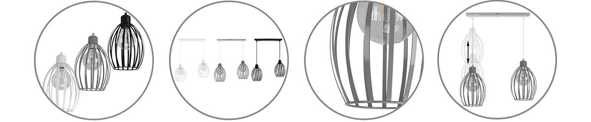 Elegancka lampa żyrandol wisząca, metalowa, metalowy koszyk, 2-płomienna