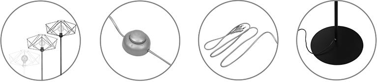 lampa podłogowa z włącznikiem nożnym, solidną metalową konstrukcją i długim kablem