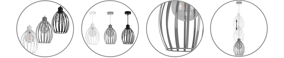 Metalowa lampa pojedyńcza z metalowym kloszem w trzech kolorach do wyboru