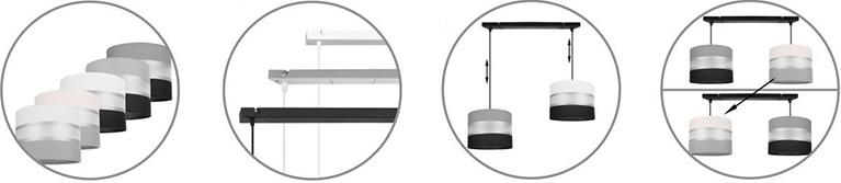 Nowoczesna lampa wisząca na listwie elegance regulacja wysokości każdego abażura osobno