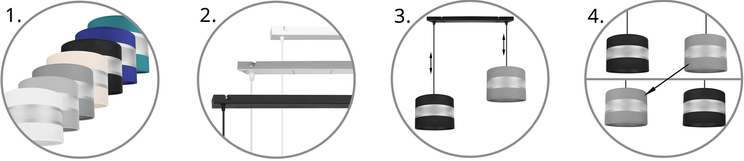 Nowoczesna lampa wisząca na listwie 2-płomienna możliwość zamieniania m iejscami abażurów