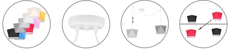 Nowoczesna lampa wisząca sufitowa 2-płomienna pająk z możliwością regulacji wysokości