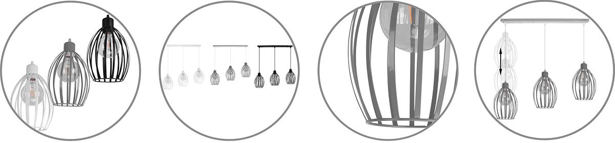 Nowoczesna lampa wisząca w stylu loft z możliwością regulacji wysokości każdego klosza osobno