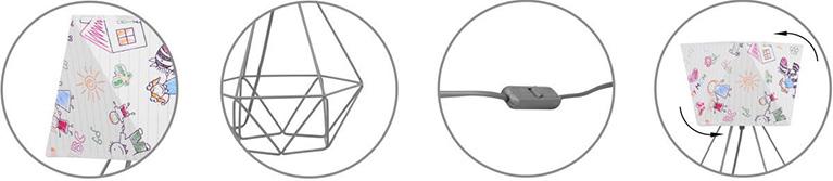 Nowoczesna lampka nocna metalowa konstrukcja możliwość oracania abażura